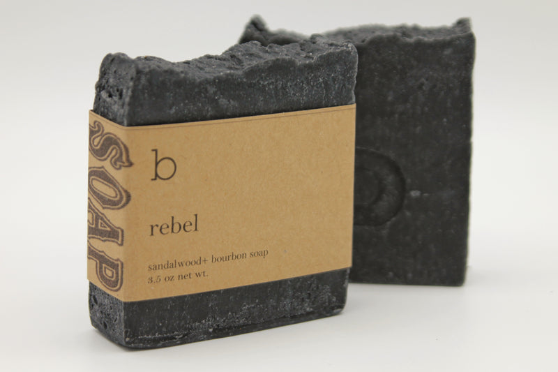 Rebel Soap - Sandalwood + Bourbon Scented Charcoal soap with Pumice