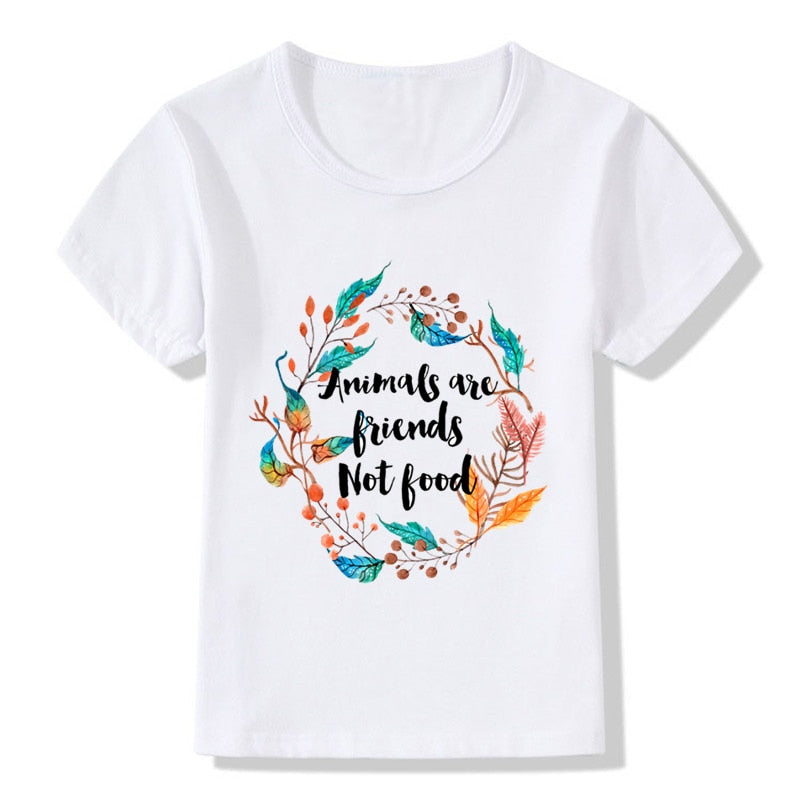 Animals Are Friends Not Food Design Children's Funny T-Shirts Baby Boys/Girls Go Vegan Tops Tees Kids Summer Clothes,ooo5173