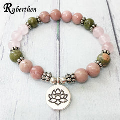 Ruberthen On Sale New Design Women`s Yogi Bracelet Natural 8 mm Rhodonite Unakite Lotus Charm Bracelet Rose Quart z Jewelry