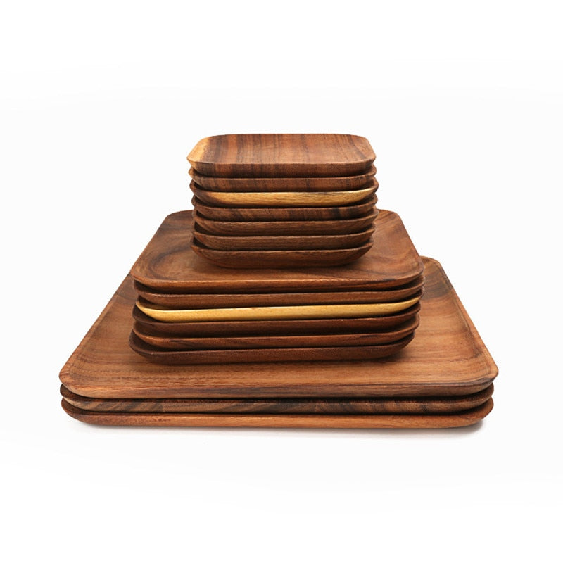 Square Wood Pan Plate Fruit Dishes Saucer Tea Tray Dessert Dinner Bread Pizza Rectangle Solid Wood Plate Tea tray