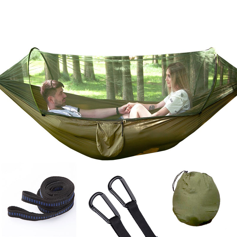Automatic Unfolding Hammock Ultralight Parachute Hammock Hunting Mosquito Net Double Lifting Outdoor Furniture Hammock 290X140CM