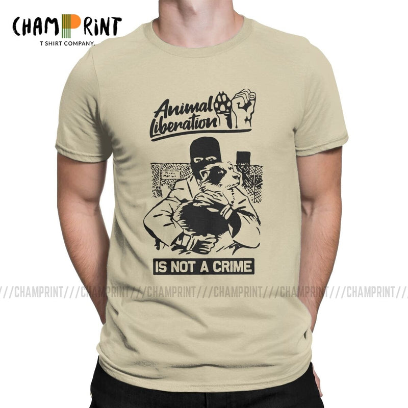 Animal Liberation Front Is Not A Crime T-Shirt Men Activism Vegan Alf Vintage Tees Round Collar T Shirt New Arrival Clothes