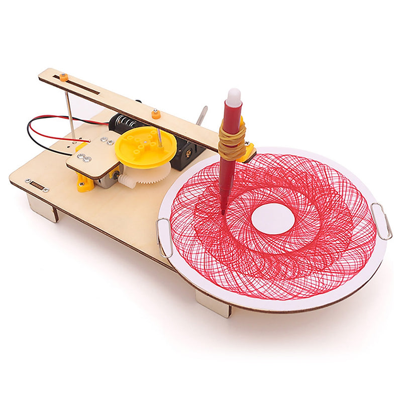 Kids Creative DIY Assembled Wooden Electric Plotter Kit Model Automatic Painting Drawing Robot Science Physics Experiment Toy