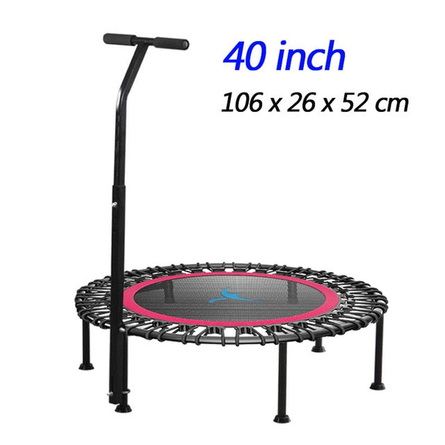 "40"" Fitness trampoline Silent Mini with Adjustable Handle length Adults Kids indoor GYM Bungee Rebounder Jump Trainer Workout"