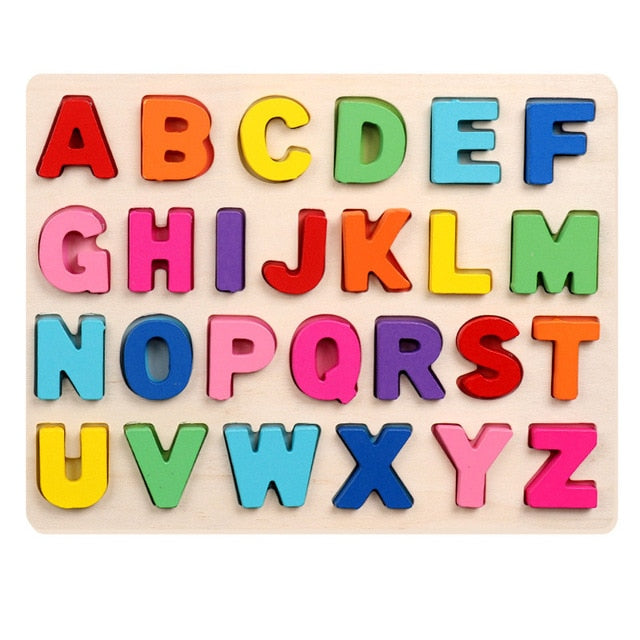 Kids Wooden 3D Alphabet Number Puzzle Baby Colorful Letter Digital Geometric Educational Toy For Toddler Boy Girl Gift