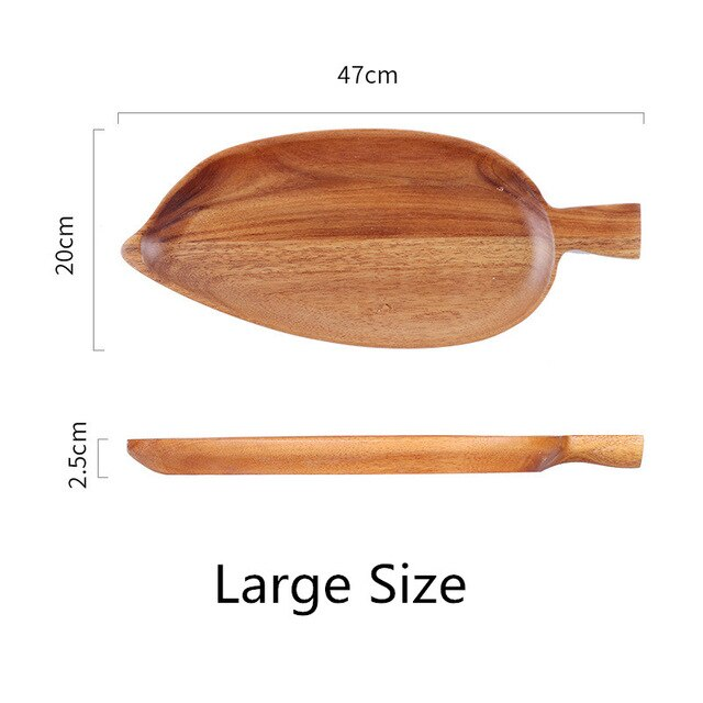 Fashion Solid Leaf Wood Pan Plate Fruit Dishes Saucer Tea Tray Dessert Dinner Bread Wood Plate storage Trays