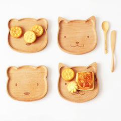 Wooden Tableware Cute Rabbit / Bear Solid Wood BowlCartoon Pattern Food Fruit Dish Tray Child Baby Serving Wood Plate