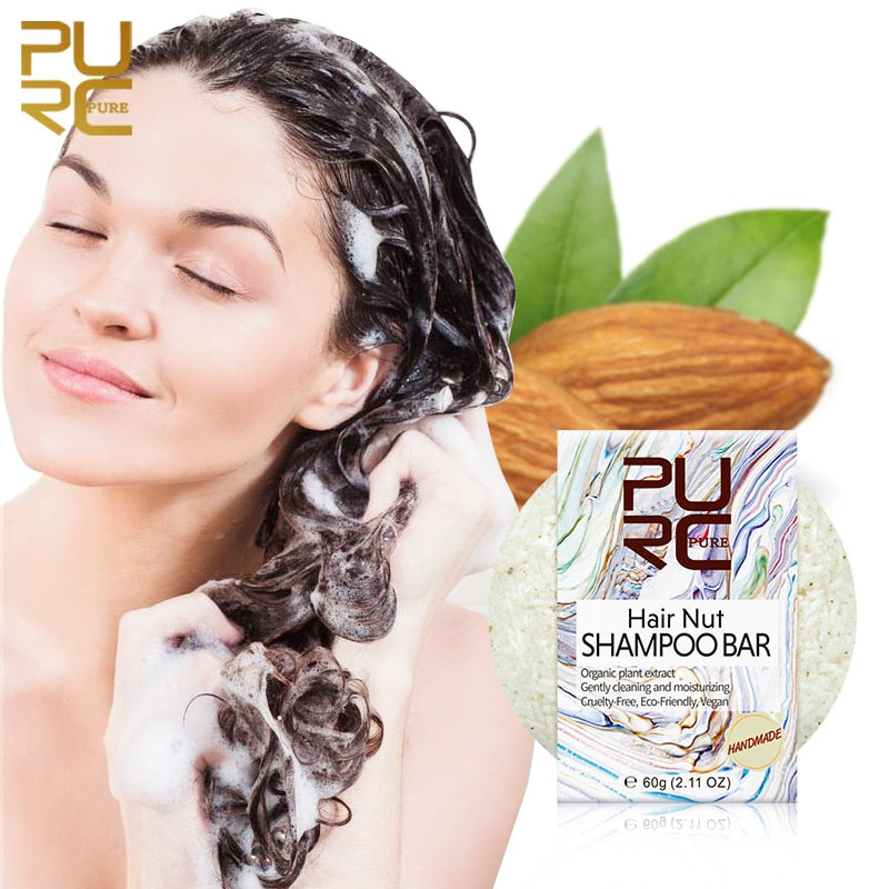 Hair Nut Shampoo Bar Almond Oil for Hair Nourishing Soap Gently Cleaning and Moisturizing Hair Condition