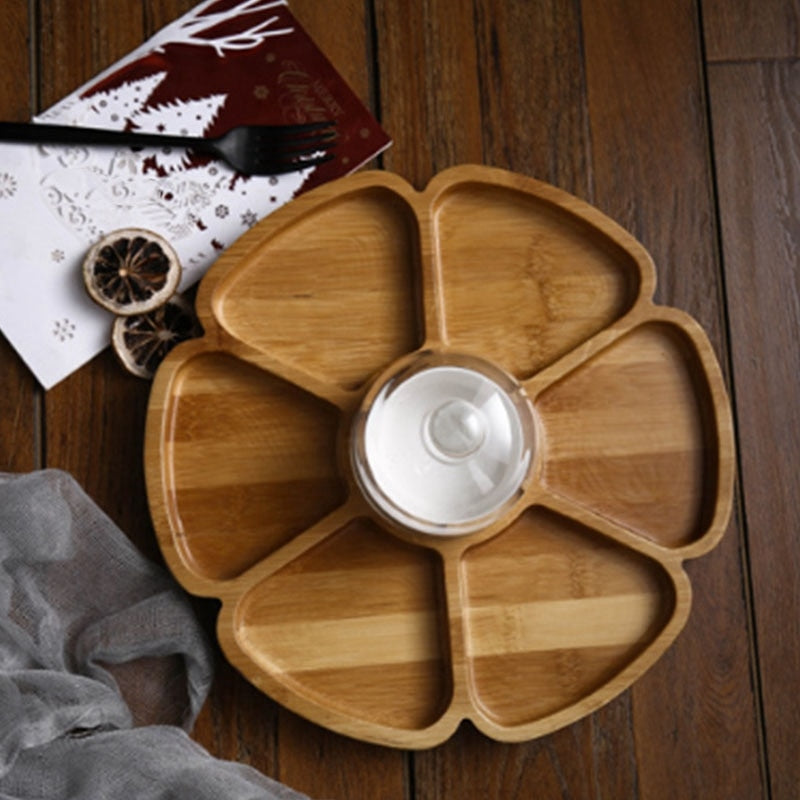 Petal Shaped Six Compartments, Nut Box, Dried Fruit Plate, Creative Compartment Snack Plate, Fruit Plate with Ceramic Bowl Cover