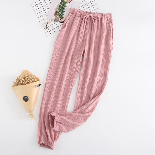 Vegan Unisex spring and autumn home pants cotton washed double gauze loose comfortable trousers casual pants