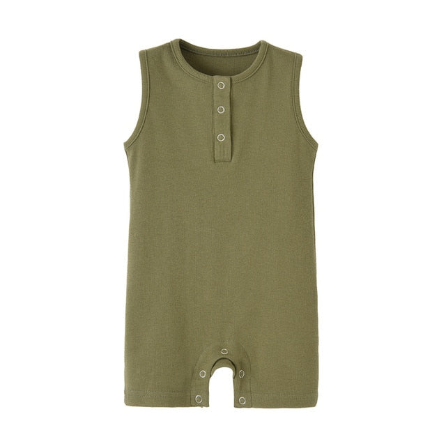 Organic Cotton Baby Summer Rompers Ribbed Infant Boys Girls Sleeveless Jumpersuit Bebe Soft Solid Color Jumpsuit Outfit