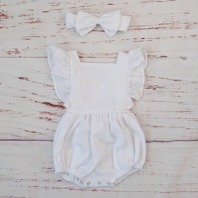 Organic Cotton Baby Girl Clothes Summer New Double Gauze Kids Ruffle Romper Jumpsuit Headband Dusty Pink Playsuit For Newborn 3M