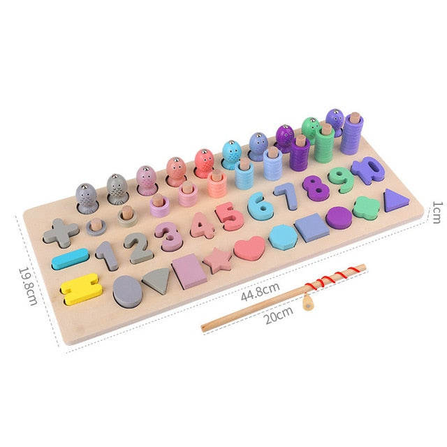 Montessori Educational Wooden Toys For kids Board Magnetic Math Fishing Count Numbers Matching Shape Match Early Education Toy