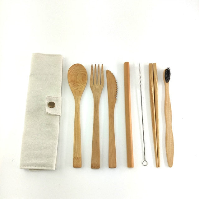 Portable Eco Friendly Flatware Set 7PCS Bamboo Cutlery Set Knife Fork Spoon Reusable Straws Chopsticks Bamboo Travel Utensils