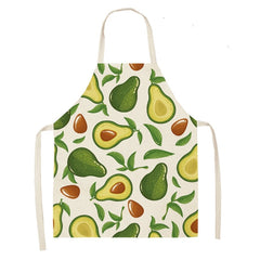 1PCS  Cotton Linen Apron Avocado Printed Kitchen Women Baking Waist Bib Home Cooking Brief Sleeveless Pinafore 53*65cm WQL0145