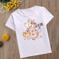 Funny Go Vegan T Shirt Kids Summer Top Cartoon Fashion Tshirt Bella Ciao Kawaii Friends No Foods Boys T-shirt Children Shirt