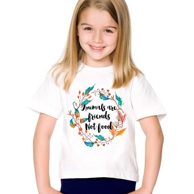 Cartoon Print Animals Are Friends Not Food Children T-shirts Kids Go Vegan Summer Tees Boys/Girls Cute Tops Baby Clothes,HKP5173