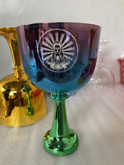 3rd octave mixed color crystal singing chalice  color 432HZ Perfect pitch