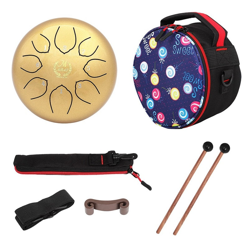 M MBAT 6 Inch Steel Tongue Drum 8 Tune Hand Pan Drum Tank Hang Drum with Drumsticks Carrying Bag Percussion Instruments