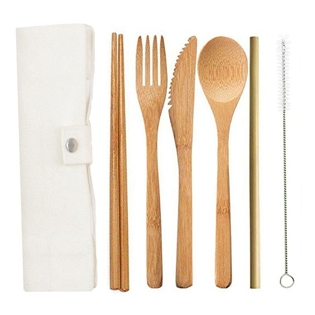 6pcs/set Bamboo Cutlery Set Portable Wooden Flatware Set Japanese Knife Spoon Fork Straw Chopstick Cloth Bag Travel Set Reusable