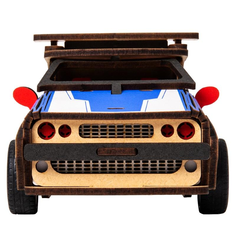 4 Kinds Movable DIY 3D Wooden Inertia Power Car Model Building Kits