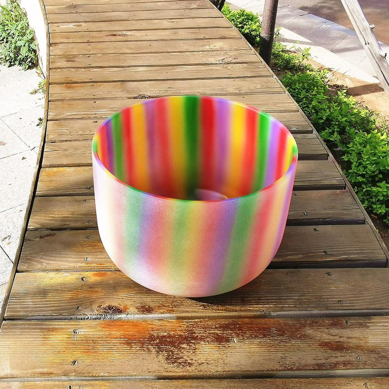 Rainbow Color Chakra Quartz Frosted crystal singing bowl 10 inch for sound healing