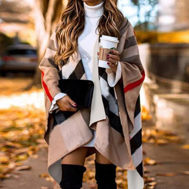 Auutmn Winter Fashion Casual Batwing Fluffy Sleeve Overcoat Women Elegant Knitted Color Block Capes Lady Irregular Ponchos Scarf