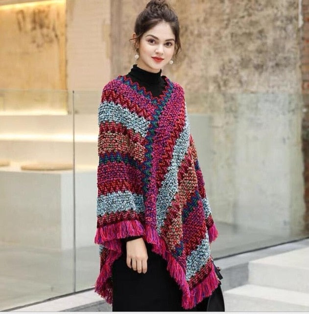 Women National Geometric Cloak Tassels Shawl Knitted Spring Hedging Mohair Fringed Knit Scarf Jacket Long Shawl Casual Poncho