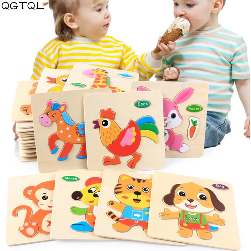 Colorful 3D Puzzle Wooden Tangram Math Toys Tetris Game Children Pre-school Magination Intellectual Educational Toy for Kids