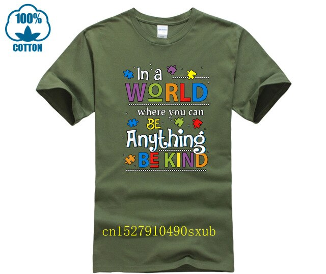 Autism Awareness Tshirt Be Kind Shirts for Men Women Kids round neck cool  man's T-shirt