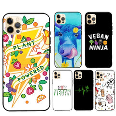 Vegan Pattern For iPhone 12 Pro Max mini Case For iPhone 11 Pro Max XS X SE 2020 7 8 Plus XR Cover