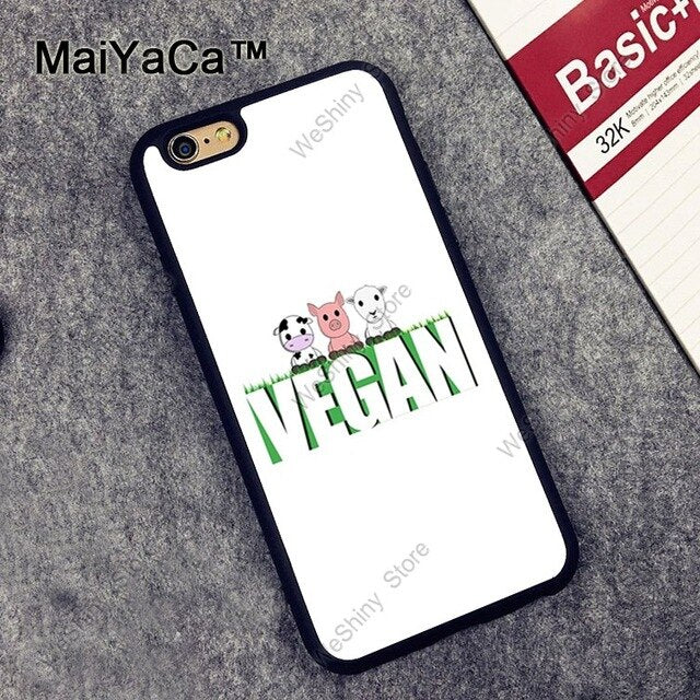 Vegan Pattern Case For iPhone XR X XS Max 6S 7 8 Plus SE 2020 12 mini 11 Pro Max Coque Funda