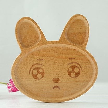 Kawaii Rabbit Face Wood Plate Cute Food Fruits Dish Dinner Plates Kid's Wooden Plate Wood Dinner Plates