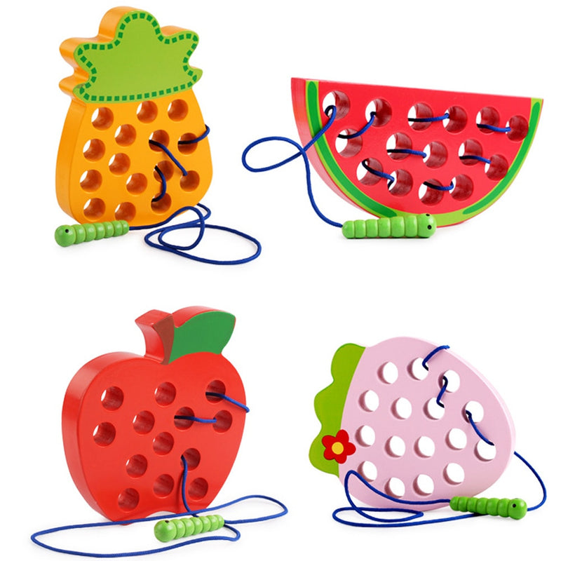 Montessori Kids Educational Toys Fun Wooden Toys Worm eat Fruit Apple Pear Funny Wooden Puzzle Toys for Children Gifts