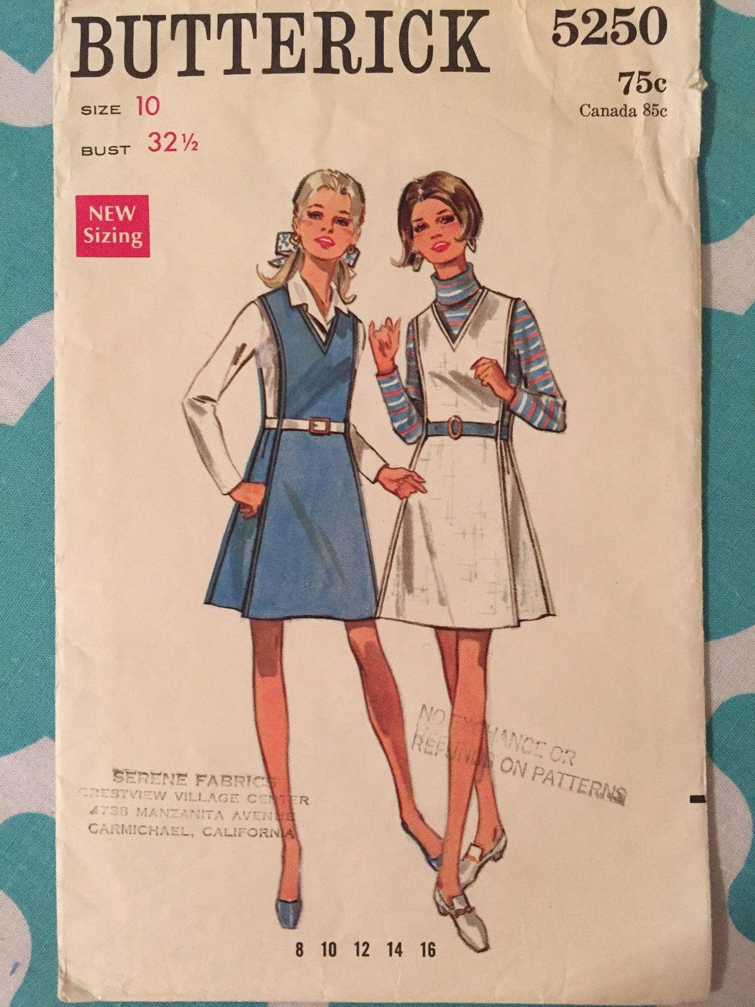 Vintage 1970's Butterick #5250 Sewing Pattern Size 10, Bust 32.5