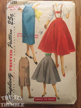 "Load image into Gallery viewer, 1950's Simplicity Skirt and Suspenders Pattern #1281 Vintage  - Waist 23 1/2"" - 1950s skirt pattern / women's suspender / lederhosen"