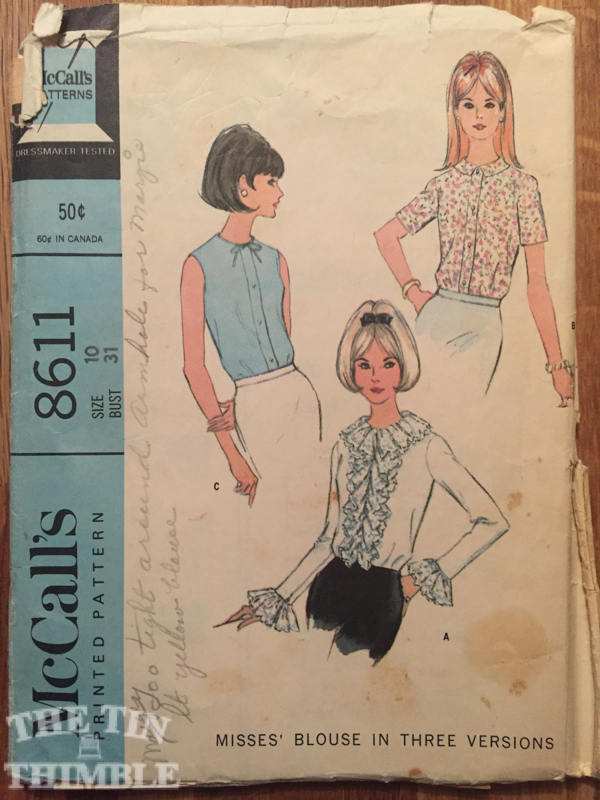 Vintage 1960's McCall's Blouse in 3 Versions Pattern #8611 Size 10 Bust 31