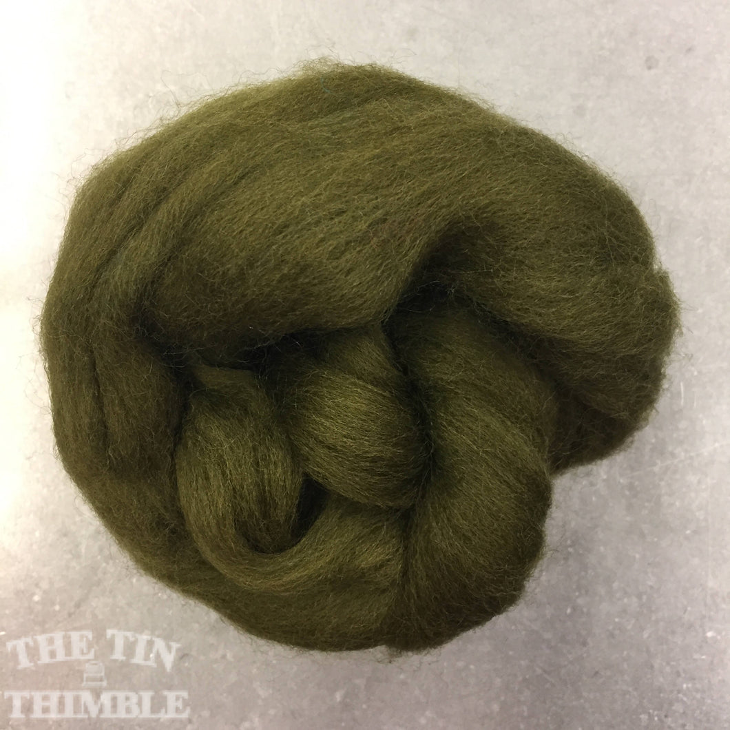 Olive CORRIEDALE Wool Roving - 1 oz - Nuno Felting / Wet Felting / Felting Supplies / Hand Felting / Needle Felting / Fiber Art