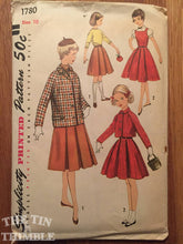 "Load image into Gallery viewer, Girl's 1950s Simplicity Pattern #1780 Sz 10 Bust 28"" - Vintage Simplicity / 50s Girl's Pattern / Skirt Jacket / Girl's Jacket Pattern"