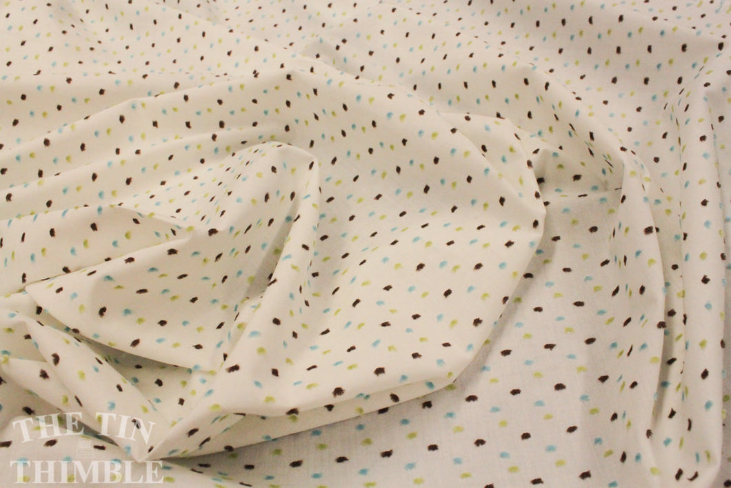 Cotton Swiss Dot Fabric by the Yard / Dotted Swiss Fabric / Clip Dot Fabric  -1 Yard  / Aqua Green Brown / Apparel Fabric - ALMOST GONE!