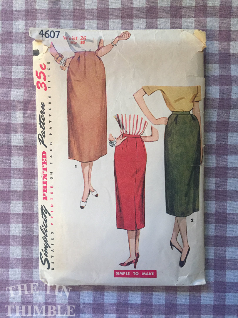 Vintage 1950's Simplicity One Yard Skirt Pattern 4607 - Waist 26 - Vintage Simplicity  / 50s Skirt Pattern / MIdi Skirt Pattern