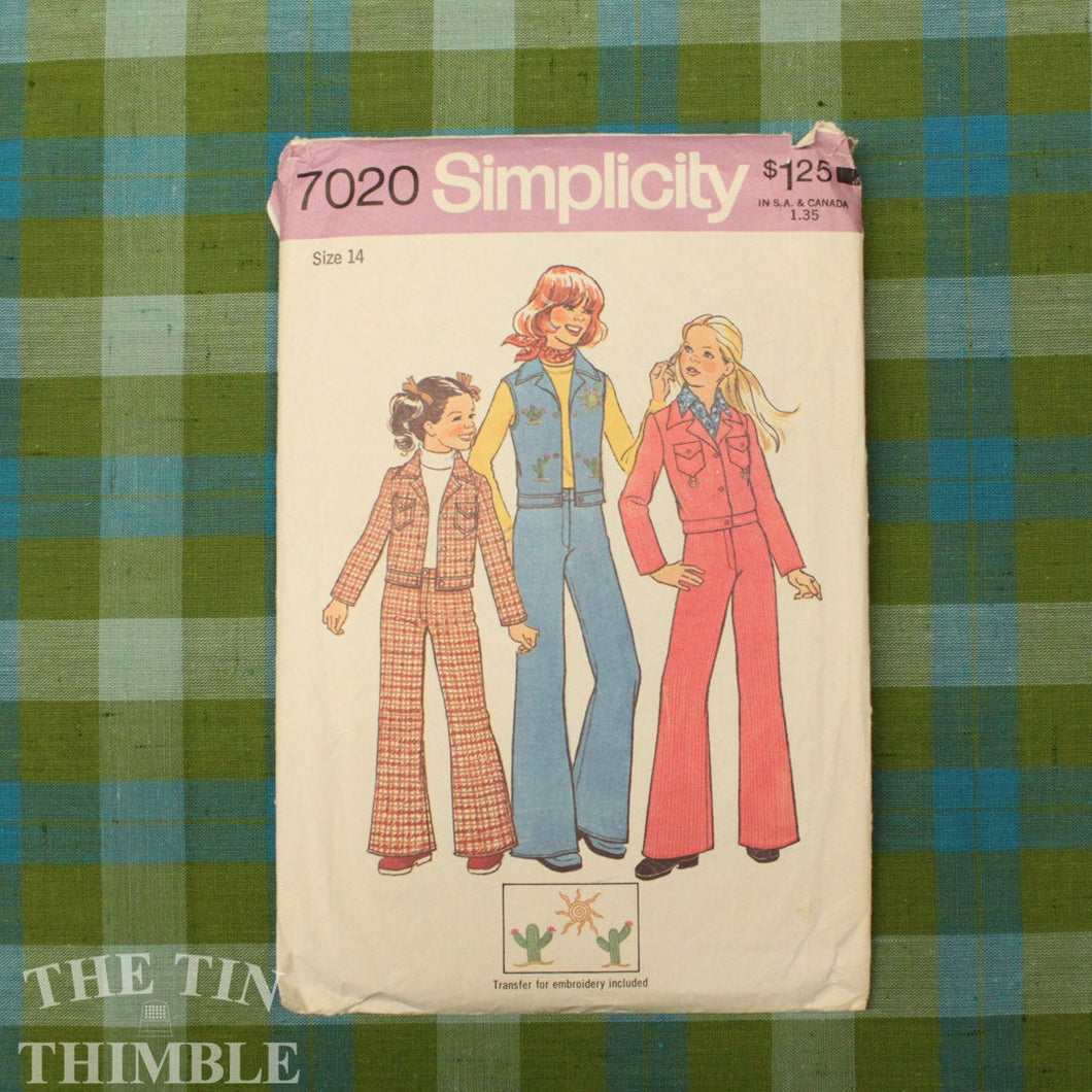 Vintage Sewing Pattern / 1970s Pants Pattern / Simplicity 7020 / Bust 32 / Size 14 / Flared Pants / Bell Bottom Pants / Jacket / QUICK LIST