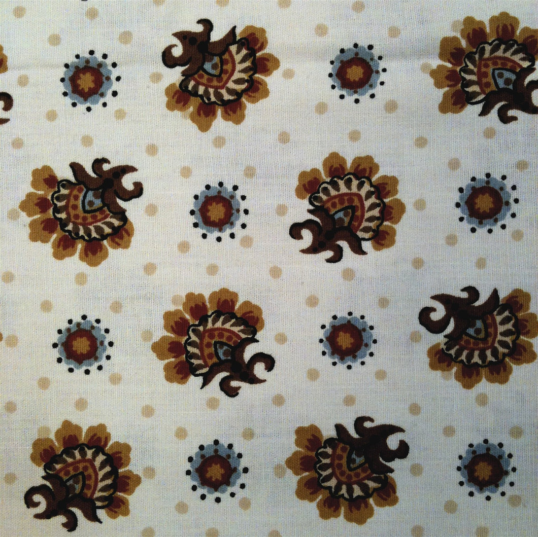 Vintage Fabric / 1970's Fabric / Floral Fabric / Medallion Fabric -1 3/8 Yards- Cotton Fabric / Cream Brown Fabric / Jacobean Fabric