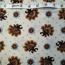 Load image into Gallery viewer, Vintage Fabric / 1970's Fabric / Floral Fabric / Medallion Fabric -1 3/8 Yards- Cotton Fabric / Cream Brown Fabric / Jacobean Fabric
