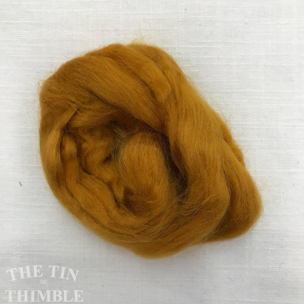 Hand Dyed Tussah Silk Fiber for Spinning, Weaving or Felting in Gold / 3 Grams / Yellow Tussah Silk