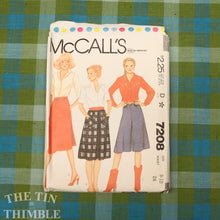 Load image into Gallery viewer, Culottes Pattern / 1980's Sewing Pattern for Women / McCall's 7208 / Waist 24 / Wrap Skirt Pattern / 1980s Skirt Pattern /QUICK LIST