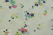 Load image into Gallery viewer, Floral Fabric / Cotton Fabric -1 Yard - Pink Blue Floral Print Fabric / White Fabric / Pink and Blue Fabric / Navy and Pink Floral