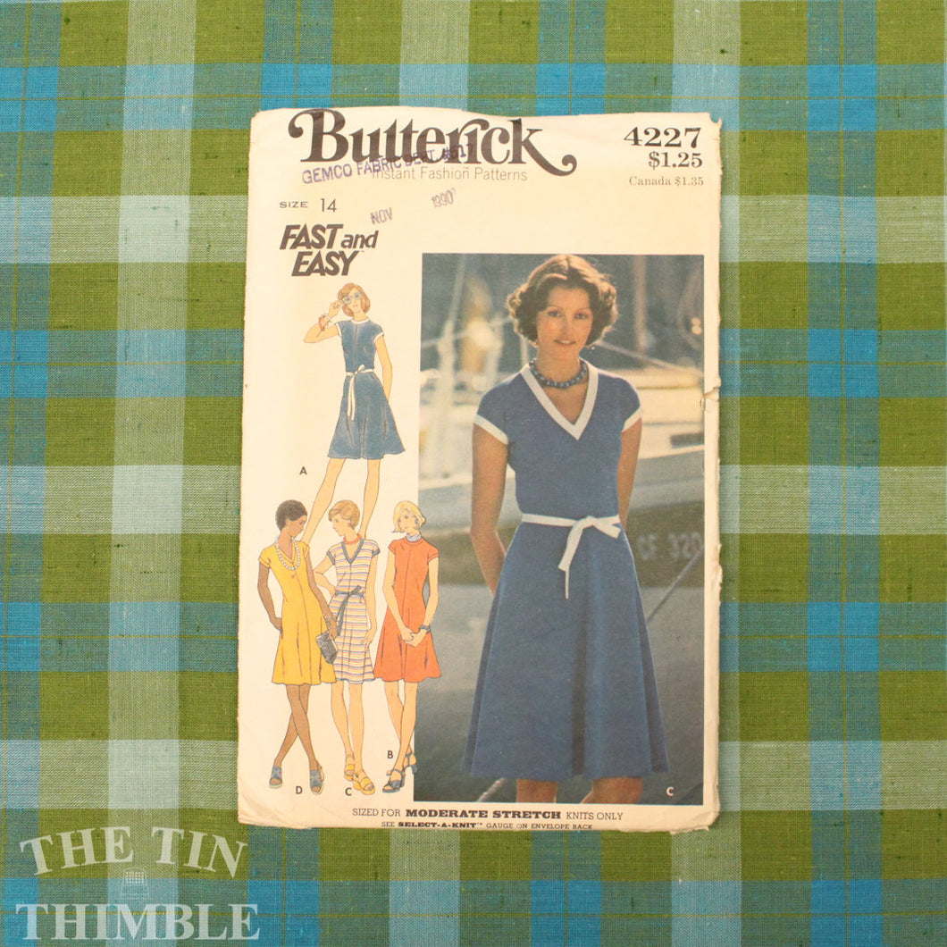 Women's V Neck Dress Pattern / Butterick 4227 / Bust 36 / T-Shirt Dress / Size 14 / Stretch Dress Pattern / 70s Dress Pattern / QUICK LIST