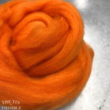 Load image into Gallery viewer, Tangerine CORRIEDALE Wool Roving - 1 oz - Roving for Felting and Weaving