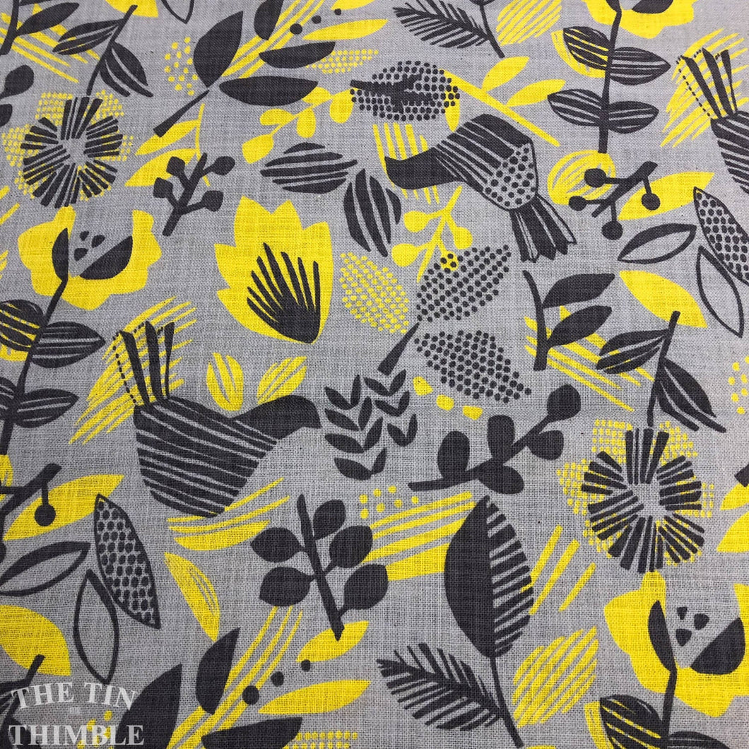 Kokka Canvas / Open Weave Cotton / Graphic - 1 Yard - Cotton Fabric / Canvas / Japanese / 100% Cotton Canvas / Printed Canvas / Grey Yellow